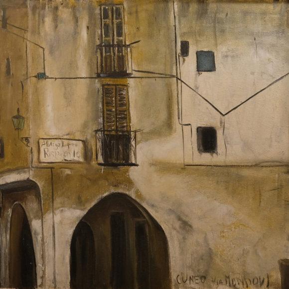 Cuneo - Via Mondovì - 40x50cm - olio su tela