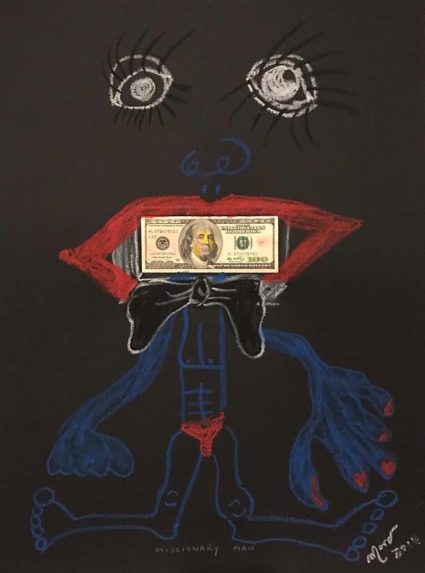 Missionary Man - 70x50cm - pastelli e collage su carta