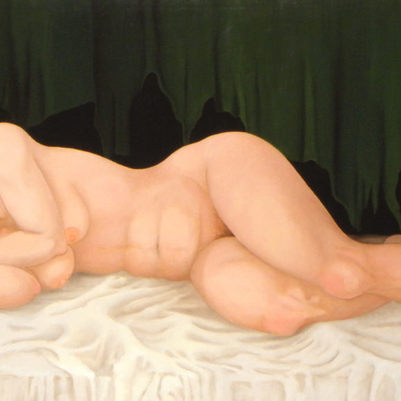 Nudo con drappo verde - 60x126 - olio su tela