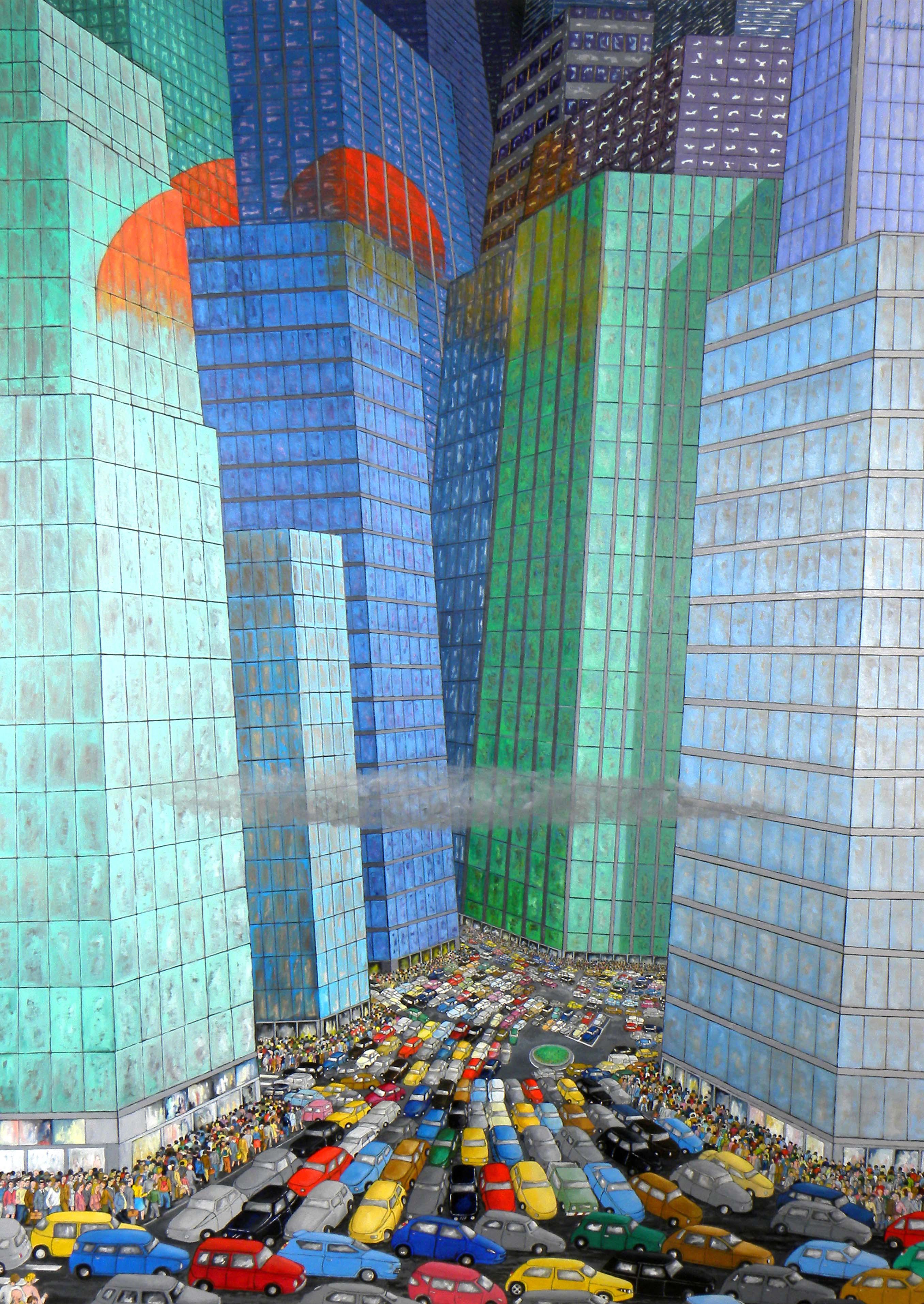 Tramonto in Metropoli - 200x140 - olio su tela